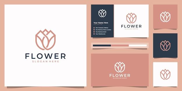 Minimalistischer strichkunststil der schönheitsblume. elegantes logo und visitenkarte.
