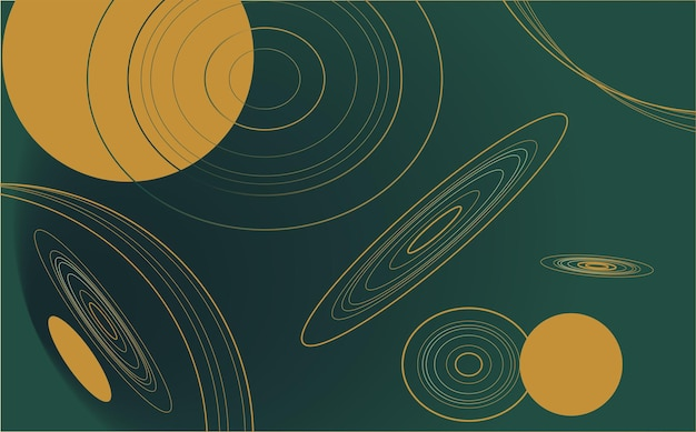 Minimalistischer, tiefgrüner, abstrakter hintergrund mit luxuriösen geometrischen formen