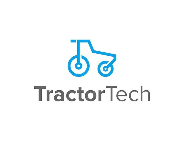 Minimalistischer traktorumriss für die tech-industrie einfaches schlankes kreatives geometrisches modernes logo-design
