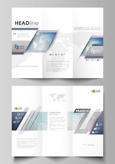 Minimalistisches, abstraktes, editierbares layout von zwei kreativen, dreifach gefalteten broschürenabdeckungen
