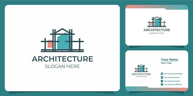 Minimalistisches architektenlogo kreatives line-art-stilkonzept und visitenkarte