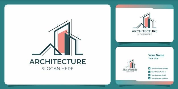 Minimalistisches architekturlogo mit logodesign im kunststil und visitenkartenvorlage