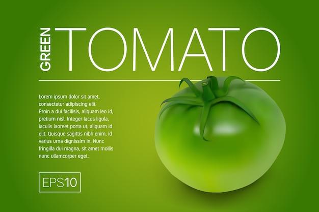 Minimalistisches banner mit einer realistischen grünen unreifen tomate und einem hellen gelbgrünen hintergrund.
