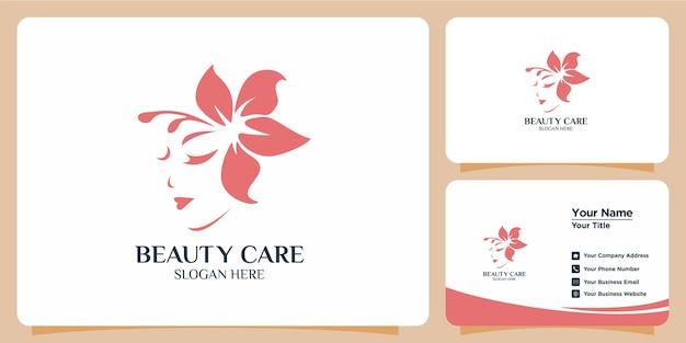 Minimalistisches beauty-logo mit modernem logo-design und visitenkartenvorlage