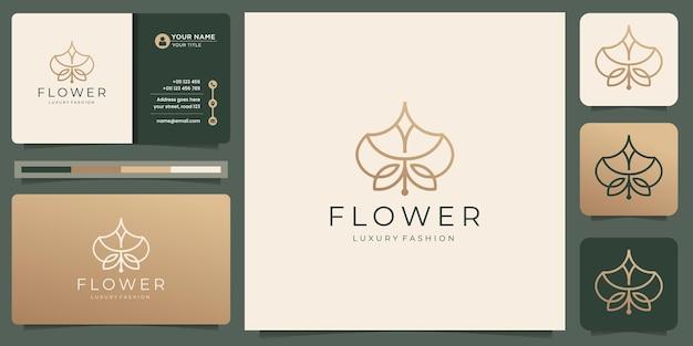 Minimalistisches blumenlinien-logo-design mit visitenkartenvorlage. kreative florale linie luxusmode.