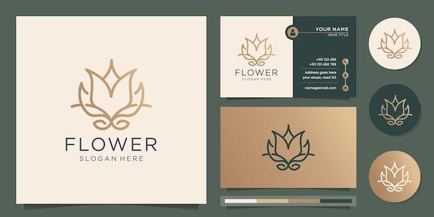 Minimalistisches blumenlogo minimales design rose-linien-kunststil lotus spa-modeelement und visitenkartendesign premium-vektor