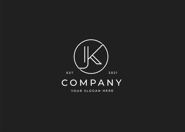 Minimalistisches buchstabe k-logo mit kreisform-designvorlage