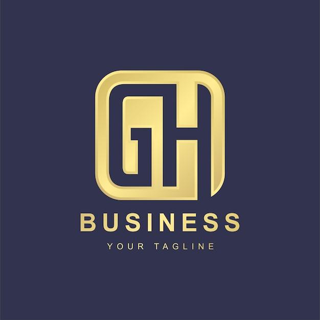 Minimalistisches buchstaben-gh-logo-schablonendesign