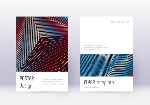 Minimalistisches cover-design-vorlagenset. rote abstrakte linien auf weißem blauem hintergrund. herausragendes cover-design. saftiger katalog, poster, buchvorlage etc.