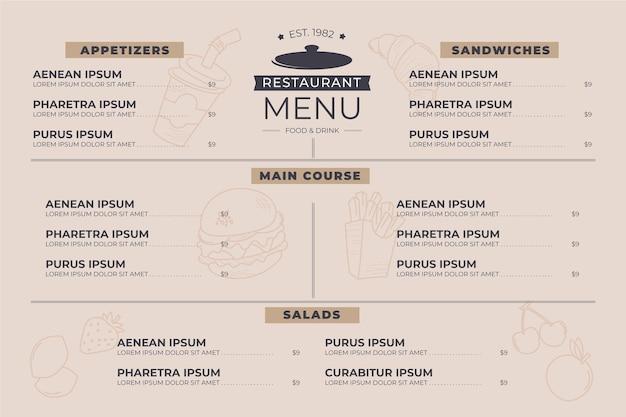 Minimalistisches digitales restaurantmenü horizontale formatvorlage