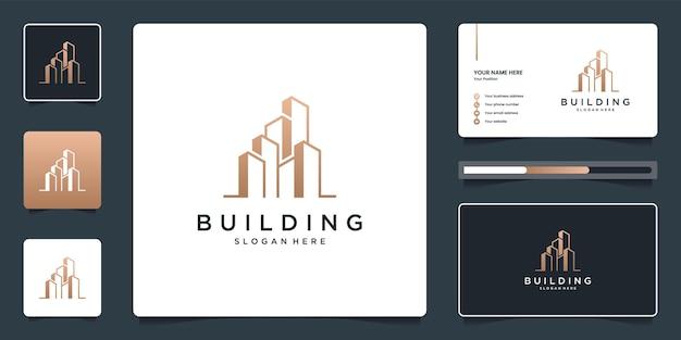 Minimalistisches elegantes architektur-immobilienlogo und visitenkartenschablone Premium Vektoren