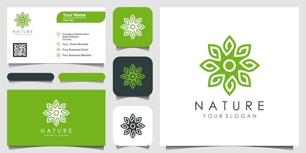 Minimalistisches elegantes blatt- und blumenrosen-logo-design für schönheit, kosmetik, yoga und spa. logo-design und visitenkarte