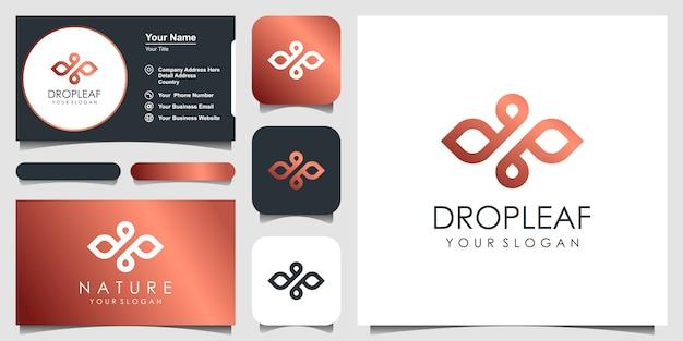 Minimalistisches elegantes blatt- und öllogo mit strichgrafikstil. logo für schönheit, kosmetik, yoga und spa. logo- und visitenkarten-design.