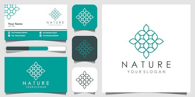 Minimalistisches elegantes blumenlogo-design für schönheit, kosmetik, yoga und spa. logo-design und visitenkarten-set