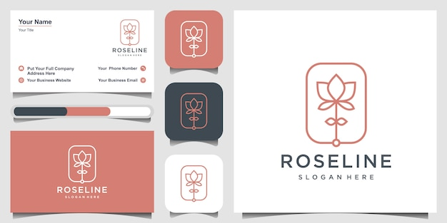 Minimalistisches elegantes blumenrose-logo-design und visitenkarte