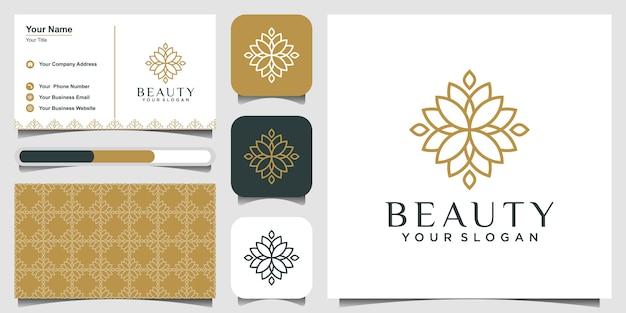 Minimalistisches elegantes blumenrosen-logo-design für schönheit, kosmetik, yoga und spa. logo-design und visitenkarte