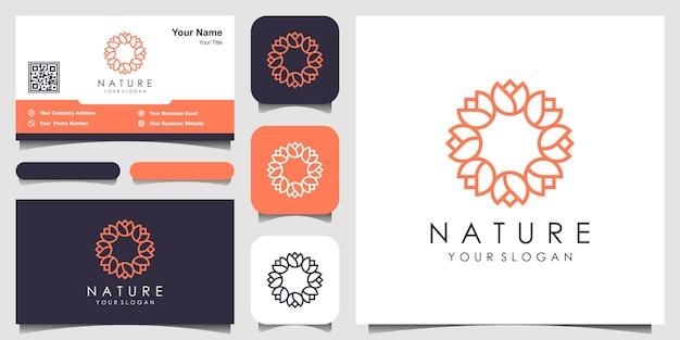 Minimalistisches elegantes blumenrosen-logo-design für schönheit, kosmetik, yoga und spa. logo- und visitenkarten-design