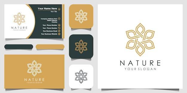 Minimalistisches elegantes blumenrosenlogo mit strichgrafikstil. logo für schönheit, kosmetik, yoga und spa. logo- und visitenkarten-design