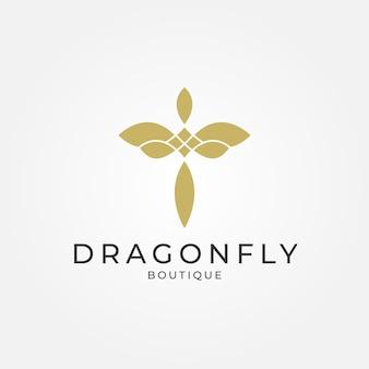 Minimalistisches elegantes dragonfly-logo-design für boutique-schmuck und saloon