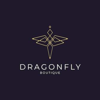 Minimalistisches elegantes dragonfly-logo-design mit strichzeichnungen für boutique-schmuck und saloon