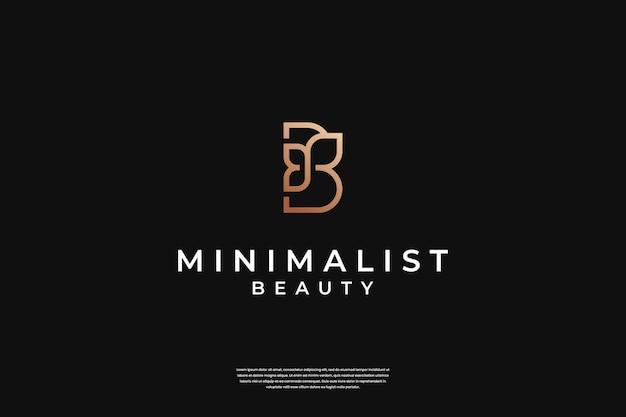 Minimalistisches elegantes initial b und blatt-logo-design mit unendlichkeitssymbol