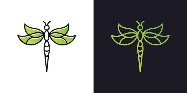 Minimalistisches elegantes libellenlogo-design mit strichgrafikschablone Premium Vektoren