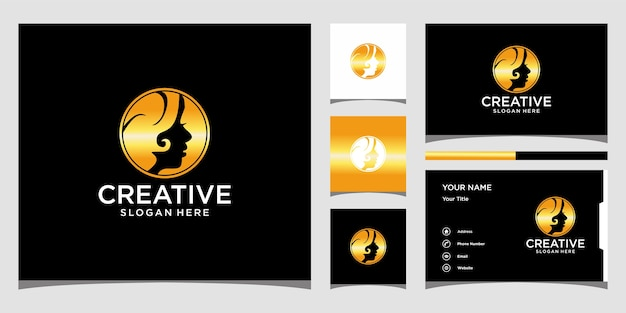 Minimalistisches elegantes logo, frauenprofil. logo-design und visitenkarte