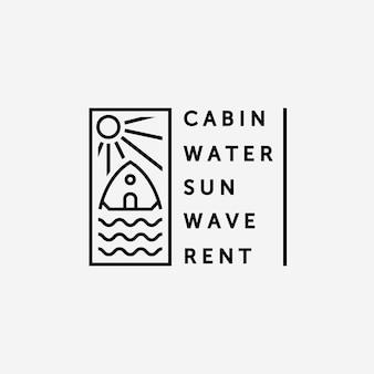 Minimalistisches emblem kabine und wasser logo vektor strichzeichnungen, illustration design von cottage im see konzept einfach kreativ