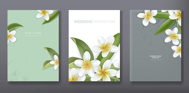 Minimalistisches florales tropisches trendiges gruß- oder hochzeitseinladungskarten-vorlagendesign, poster, flyer, broschüre, cover, partywerbung, tropische plumeriablumen in vektor