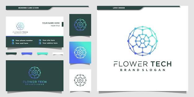 Minimalistisches flower-tech-logo-design mit einzigartiger linienkunst und visitenkarte premium vekto