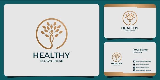 Minimalistisches gesundheitslogo mit modernem logodesign und visitenkartenvorlage