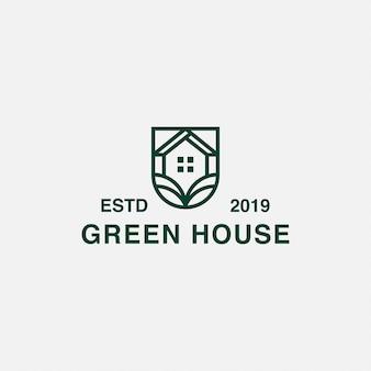 Minimalistisches grünes haus des ikonenlogos