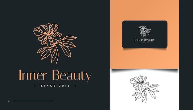 Minimalistisches handgezeichnetes blumenlogo im line art style, für spa, kosmetik, schönheit, floristen und mode