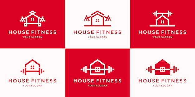 Minimalistisches haus-fitness-logo mit strichzeichnungskonzept zur inspiration