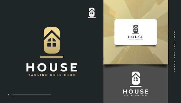 Minimalistisches haus-logo-design. bau-, architektur- oder gebäudelogo-design