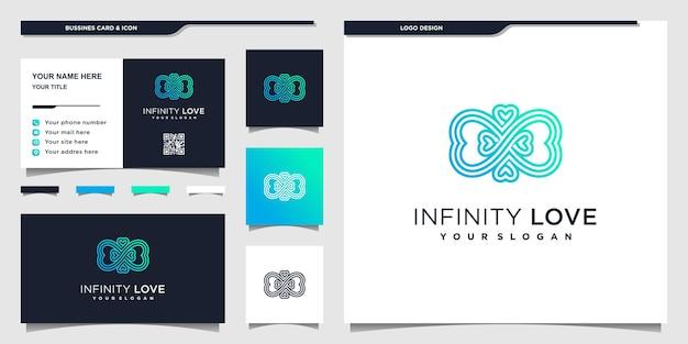 Minimalistisches herz-logo-design mit blauem farbverlauf, infinity-symbol und visitenkarten-design Premium Vektoren