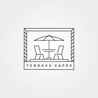Minimalistisches illustrationsdesign der terrassenikonen-linienkunst