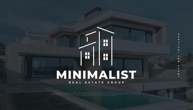 Minimalistisches immobilien-logo-design. bau-, architektur- oder gebäudelogo-design