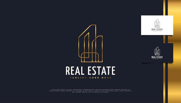 Minimalistisches immobilien-logo-design in gold mit linearem konzept.