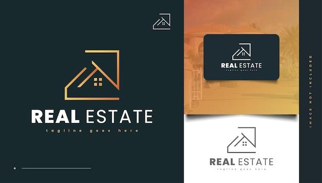 Minimalistisches immobilien-logo-design mit linearem konzept