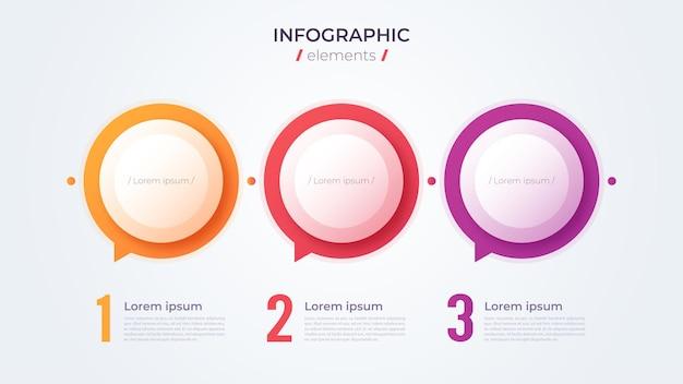 Minimalistisches infografik-konzept mit 3 optionen. vektorschablone