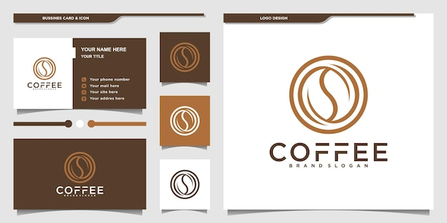 Minimalistisches kaffee-logo-design mit kreisförmigem kunststil und visitenkarte premium-vektor