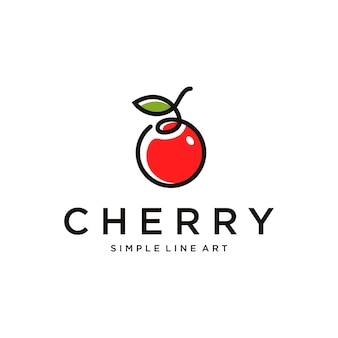 Minimalistisches kirsch-logo-design mit strichzeichnungsfarbe vektor