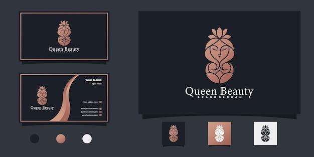 Minimalistisches königin schönheitslogodesign mit luxuriösem farbverlauf und visitenkartendesign premium-vektor