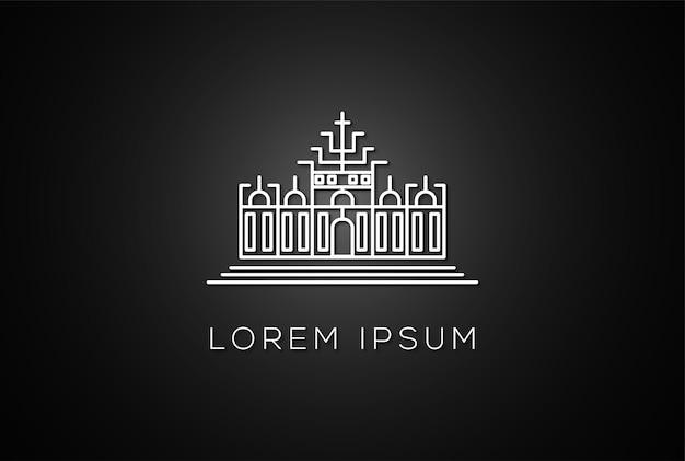 Minimalistisches königreich empire linie umriss logo design vektor