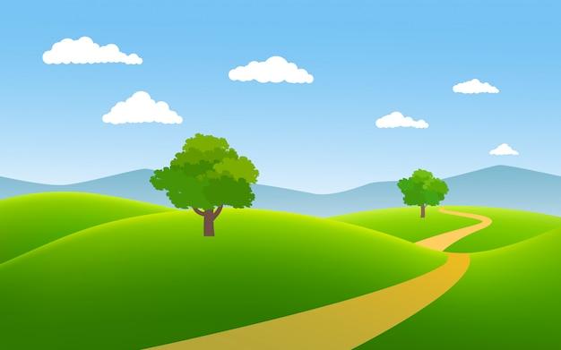 Minimalistisches landschaftsvektorbild mit fußweg