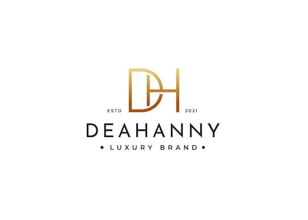 Minimalistisches letter dh-logo-design für persönliche marke oder firma