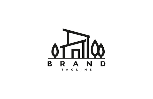 Minimalistisches line house-logo