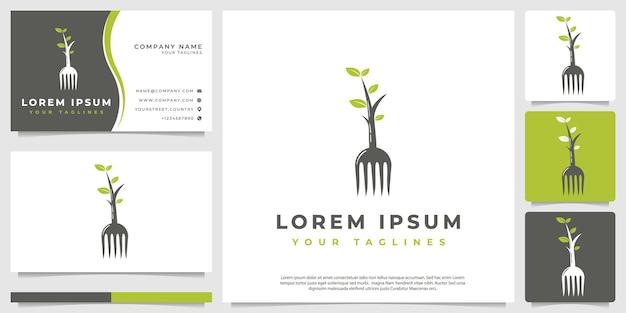 Minimalistisches logo der gabelpflanze Premium Vektoren