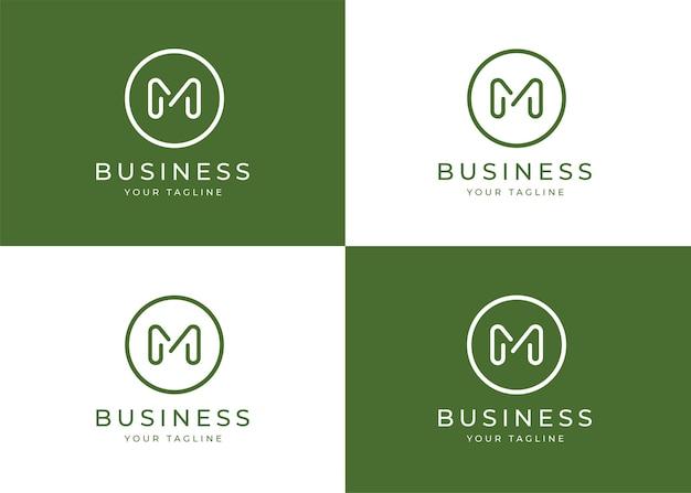 Minimalistisches logo-entwurfsschablone des buchstabens m mit kreisform